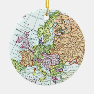 Vintage map of Europe colorful pastels Christmas Ornament