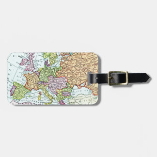 Vintage map of Europe colorful pastels Luggage Tag