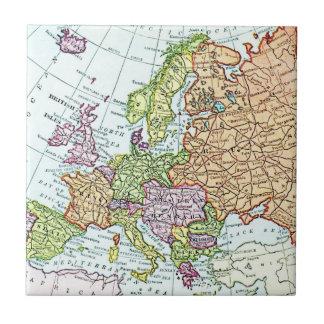 Vintage map of Europe colorful pastels Tile