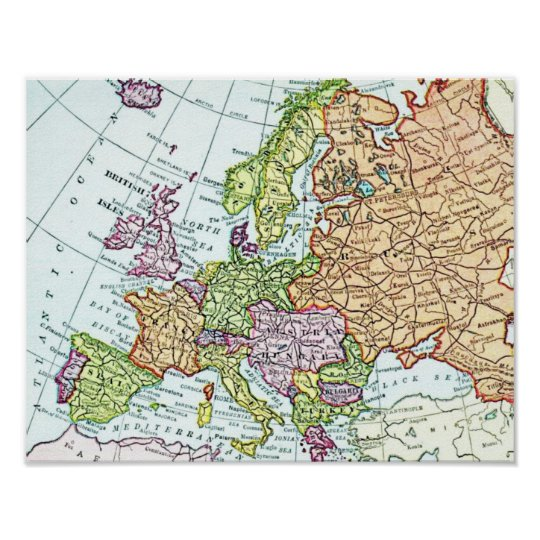 Vintage Map Of Europe Colourful Pastels Poster Zazzle Co Uk