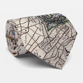 Vintage Map of Flanders Belgium (17th Century) Tie