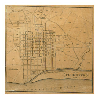 Vintage Map of Florence Alabama (1840) Poster