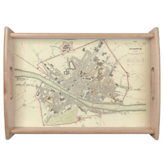 Vintage Map of Florence Italy (1835) Serving Trays
