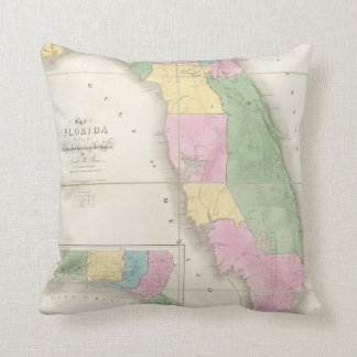 Vintage Map of Florida (1839) Throw Cushion