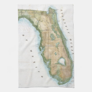 Vintage Map of Florida (1848) Tea Towel
