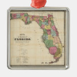 Vintage Map of Florida (1870) Silver-Colored Square Decoration
