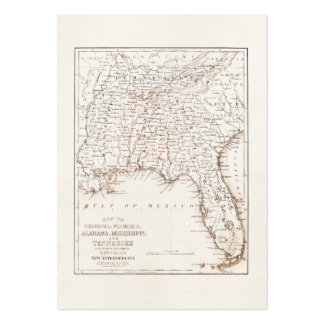 Vintage Map of Florida Alabama Georgia Mississippi Pack Of Chubby Business Cards