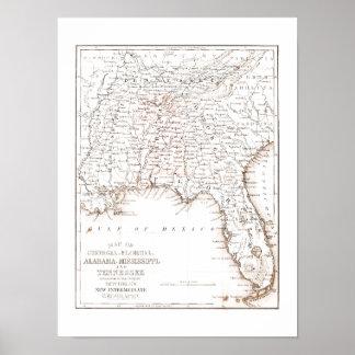 Vintage Map of Florida Alabama Georgia Mississippi Poster