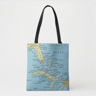 Vintage map of Florida and Cuba tote bag