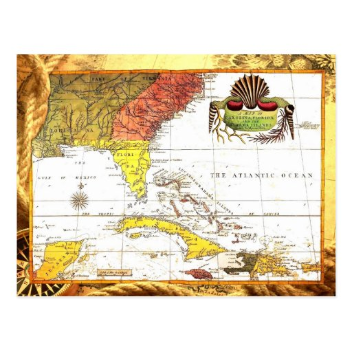 Vintage Map of Florida and The Caribbean Post Cards