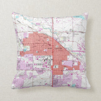 Vintage Map of Fort Collins Colorado (1960) Cushion