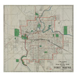 Vintage Map of Fort Wayne Indiana (1919) Poster