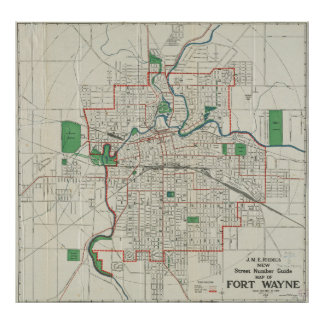 Vintage Map of Fort Wayne Indiana (1919) Poster