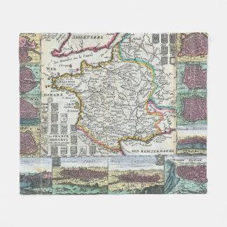 Vintage Map of France (1747) Fleece Blanket