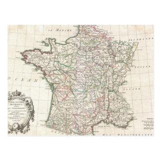 Vintage Map of France 1771 Post Card