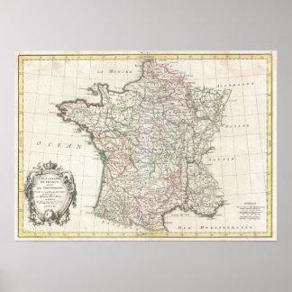 Vintage Map of France 1771 Print