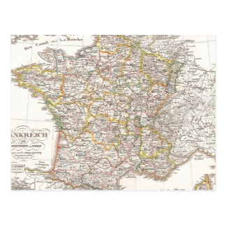 Vintage Map of France (1850) Postcard