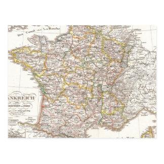 Vintage Map of France (1850) Postcard