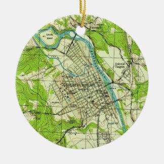 Vintage Map of Fredericksburg Virginia (1944) Christmas Ornament