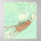 Vintage Map of Galveston Texas (1954) 3 Poster