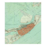 Vintage Map of Galveston Texas (1954) 3 Poster