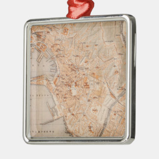 Vintage Map of Genoa Italy (1906) Christmas Ornament