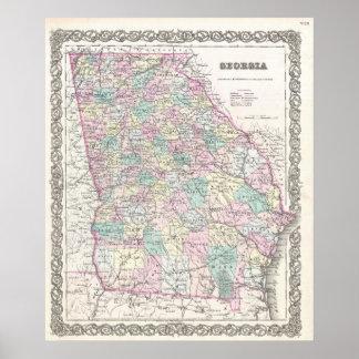 Vintage Map of Georgia (1855) Poster