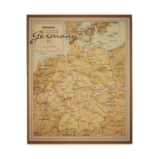 Vintage map of Germany wood wall art Wood Prints