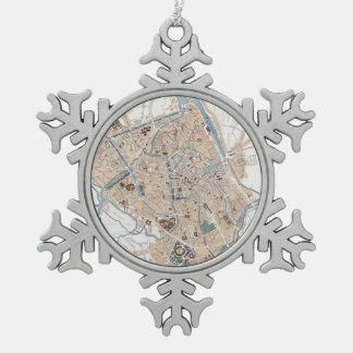 Vintage Map of Ghent Belgium (1905) Pewter Snowflake Decoration