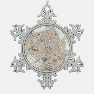 Vintage Map of Ghent Belgium (1905) Snowflake Pewter Christmas Ornament