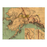 Vintage Map of Gold and Coal in Alaska (1898) Post Card