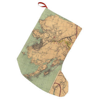 Vintage Map of Gold and Coal in Alaska (1898) Small Christmas Stocking