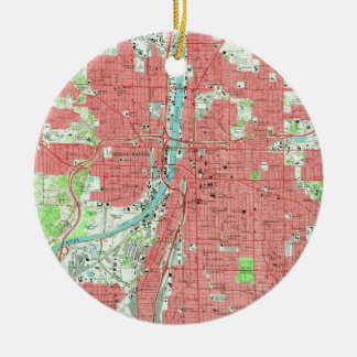 Vintage Map of Grand Rapids Michigan (1967) Christmas Ornament