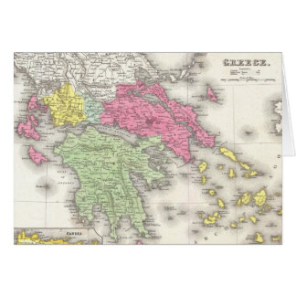 Vintage Map of Greece (1853) Card