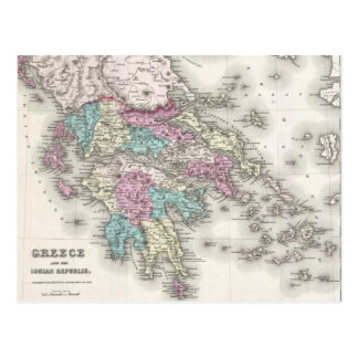 Vintage Map of Greece (1855) Postcard
