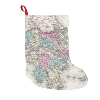 Vintage Map of Greece (1855) Small Christmas Stocking