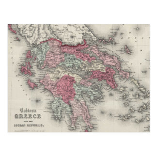 Vintage Map of Greece (1865) Postcard