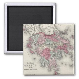 Vintage Map of Greece (1865) Square Magnet