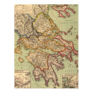 Vintage Map of Greece (1903) Postcard