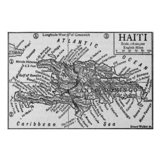 Vintage Map of Haiti (1911) Poster