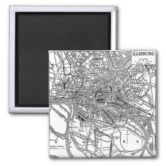 Vintage Map of Hamburg Germany (1911) Square Magnet