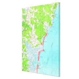 Vintage Map of Hampton Beach New Hampshire (1957) Canvas Print