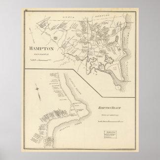 Vintage Map of Hampton Beach NH (1892) Poster