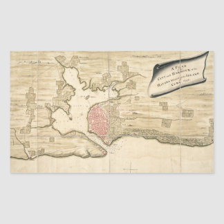Vintage Map of Havana Cuba 1740 Rectangle Stickers