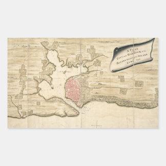 Vintage Map of Havana Cuba (1740) Rectangular Sticker