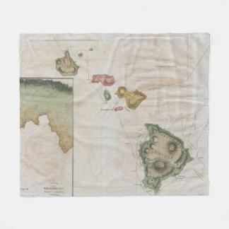 Vintage Map of Hawaii (1785) Fleece Blanket