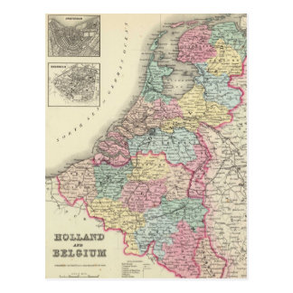 Vintage Map of Holland and Belgium (1856) Postcard