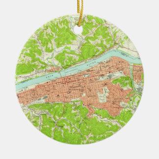 Vintage Map of Huntington West Virginia (1957) Christmas Ornament