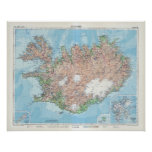Vintage Map of Iceland Poster