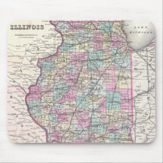Vintage Map of Illinois (1855) Mouse Pad